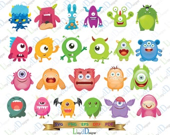 Monsters SVG Monsters Clipart Cut file Monster Birthday Party Monster Shirt Monster inc svg png eps dxf files Print Design Cameo Cricut