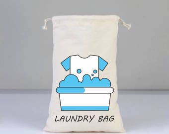 Cotton bags drawstring, Laundry Bag, Laundry Sign, Natural Cotton Bags, Home, Laundry, Organic Bags, Blue, Gift Bag, dirty, dirty gifts