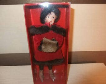 Vintage 1990,s Past Days Boxed Victorian Skating doll with bisque head as new