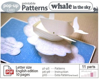 printable pattern__Whale in the sky (pop-up card)_ (digital download file)