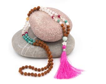 Beautiful 108 bead mala with rudraksha and semi precious stones