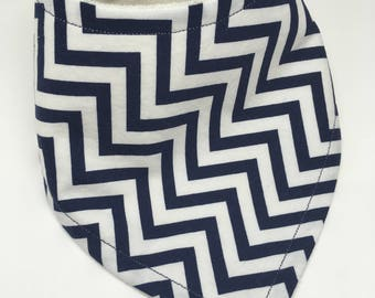 Navy Blue Chevron Bandana Drool Bib Baby Bib Baby Shower Gift Bibdana Toddler Bib Teething Baby Baby Girl  Baby Boy