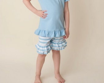 Girls blue and white stripped ruffle shorts