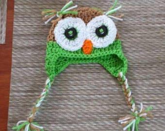 Crochet owl hat, Handmade