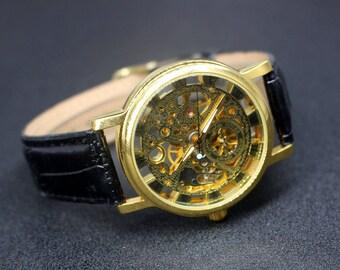 Mechanical Watch Steampunk Watch Skeleton Watch Steam Punk Watch for Men Engraved Watch Personalized Watch for Boyfriend Christmas Gift