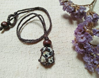 Macrame necklace with Dalmatian Jasper ,dark brown waxed cord and wood bead