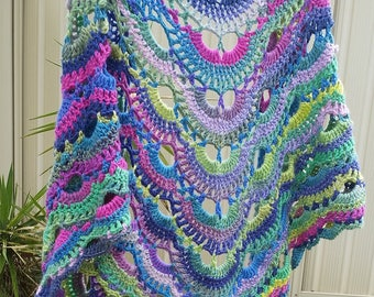 Crocheted Pastel Rainbow Virus Shawl Wrap