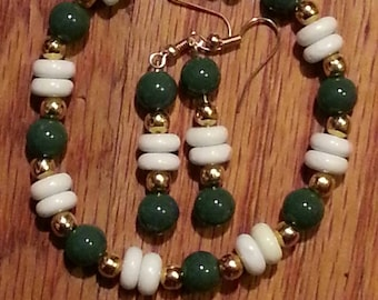 Green, Gold and White Bracelet and Earring Set