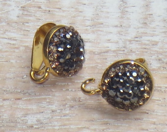 Pave Cz Gold Crystal Bail with Loop Black and Gold Crystals