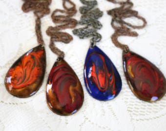 Lot of Large tear drop, vintage enamel coated copper pendant necklaces, repurpose, repair, wear or crafting jewelry Lot