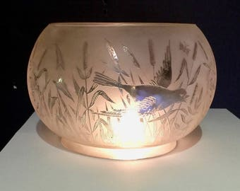 "Antique Etched Glass 5"" Gas Shade With Birds, Cattails & Butterflies"