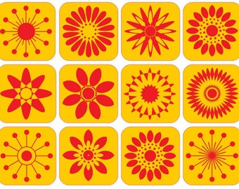 ABSTRACT FLOWERS wall decals set of 12 individual stickers