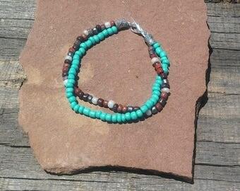 Turquoise Glass Bead Bracelet, Boho Multi Strand