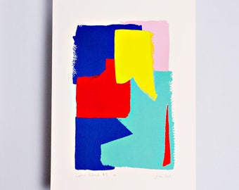 Colour Block 4 Limited Edition Screen Print Hand Printed, Fashion Illustration, Fashion Wall Art, Primary Colours, Brushstroke, Original Art
