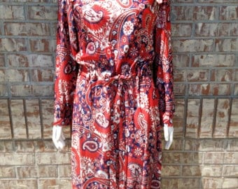 1970's Vintage Midi Long Sleeve Dress