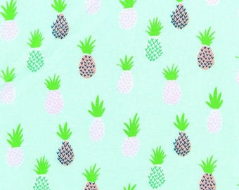 Blue pineapple pattern fabric