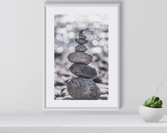 Zen Stones Print, Zen Stones Poster, Zen Stones Wall Art, Home Decor, Gift for Her, Moving gift, Art Print, Digital Download, Printable