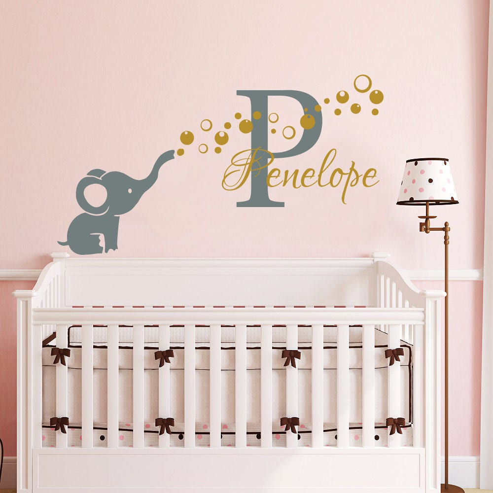 Name Wall Decal Elephant Wall Sticker Vinyl Nursery Personalized - Nursery wall decals elephant