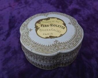ancienne boite à poudre parfumerie Roger & Gallet, Vera-Violetta, old powder box perfumery, vieja caja de polvo de perfume de lujo,