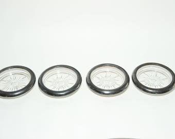 Mad Men Era Barware - Mid-Century Silver Rimmed Bar Coasters