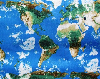 Ocean map fabric etsy studio fabric world map globe america europe australia africa asia countries oceans geography earth rjr fabrics supernova cotton fabric by the yard sciox Gallery
