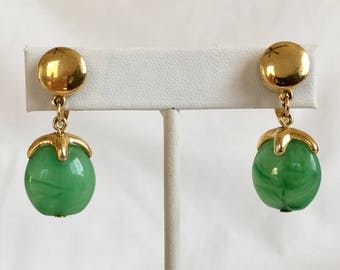 Trifari Faux Jade Earrings, Gold Tone, Green Lucite, Dangle Earrings, Drop Earrings, Clip On, Vintage, 1970s