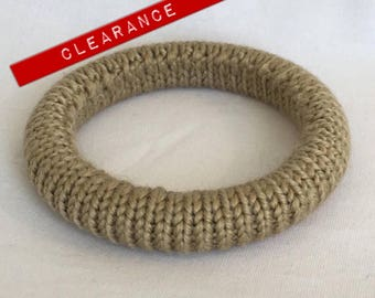 CLEARANCE Vintage Tan Knit Bangle Bracelet
