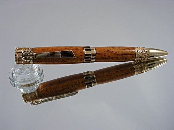 Music Themed Ink Pen in 24k Gold and Afzilia Snakewood