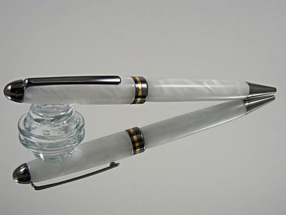 Handcrafted Classic Pen in Gunmetal and White Pearl Acrylic