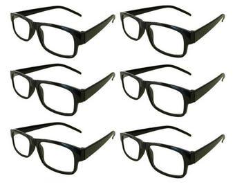 Mr. Reading Glasses 6 Black Plastic Frame Men/Women Vintage Reader Wholesale +3.25