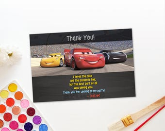 Personalized Cars 3 Thank You Card Lightning Mcqueen Jackson Storm Race Cars Birthday Party Printable DIY - Digital File