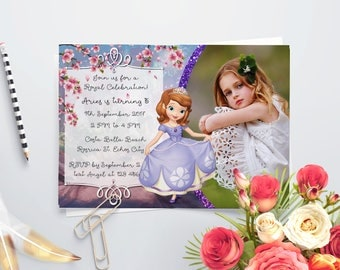 Personalized Sophia The First Photo Card Birthday Invitation Invite Purple Violet Glitters Cherry Blossoms Printable DIY - Digital File