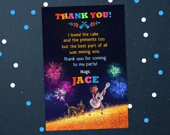 Personalized Coco Thank You Card Miguel Dante Fireworks Guitar Birthday Party Printable - Digital File