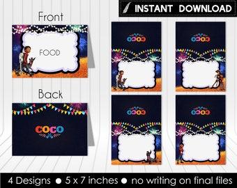 Instant Download - Coco Food Tent Labels Indicators Birthday Party Miguel Dante Hector Guitar Printable DIY - Digital File