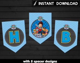 Instant Download - Paw Patrol Banner Pennant Happy Birthday Rocky Bunting Chase Skye Blue Polka Dots Printable DIY - Digital File