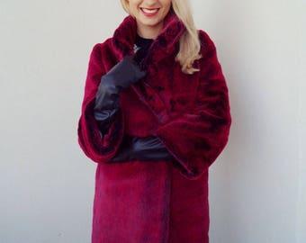 Faux fur coat Wild Raspberry