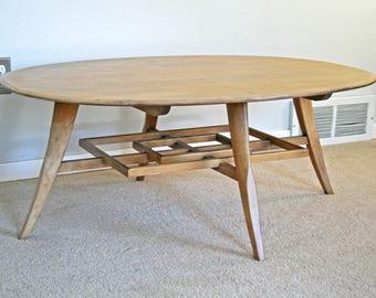 RARE vintage mid century Heywood Wakefield sable oval coffee table