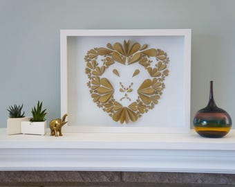 Gold Lion - Unique Framed Paper Art for Home Decor! Perfect for a Baby Shower, Children's Bedroom, or Anywhere!  By DinoCat Studio