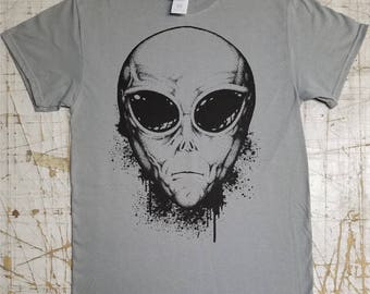Alien Grey on Gravel Grey tee shirt