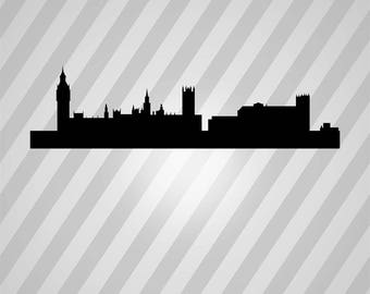 victorian london skyline Silhouette - Svg Dxf Eps Silhouette Rld RDWorks Pdf Png AI Files Digital Cut Vector File Svg File Cricut Laser Cut