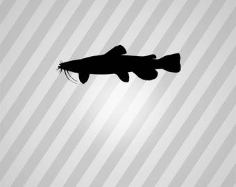 flathead catfish Silhouette - Svg Dxf Eps Silhouette Rld RDWorks Pdf Png AI Files Digital Cut Vector File Svg File Cricut Laser Cut