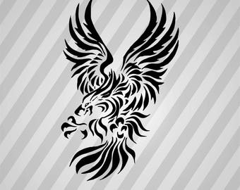 Tribal Eagle Silhouette Eagle - Svg Dxf Eps Silhouette Rld RDWorks Pdf Png AI Files Digital Cut File Svg File Cricut Laser Cut Vector