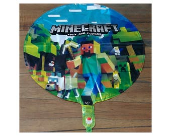 "Minecraft 17"" Round Helium Birthday Balloon ~ Birthday Party Supplies"