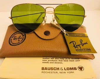 Vintage NEW 58mm Ray Ban Green Bausch & Lomb Usa BL old Stock / Case Original