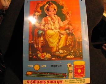Old Indian Advertising Tin Sign, Ganesha