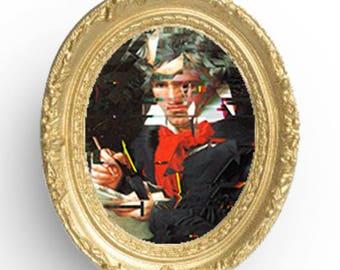 Beethoven Portrait Digital Art, Glitch Art Effect, Classical Art with a Modern Twist