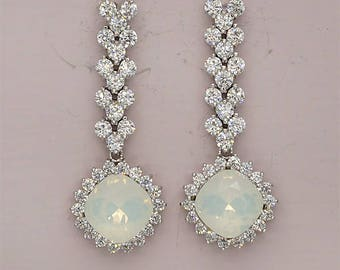 Opal Wedding Earrings Silver Bridal EArrings Swarovski Crystal Jewelry for Brides White Opal Earrings Crystal Drop Earrings