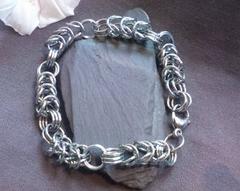 Handmade Silver Chainmaille Intercalated Box Chain Bracelet For Men