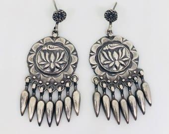 Ethnic Silver Earrings , Tribal earring in 925 Sterling silver , oxidised silver earrings