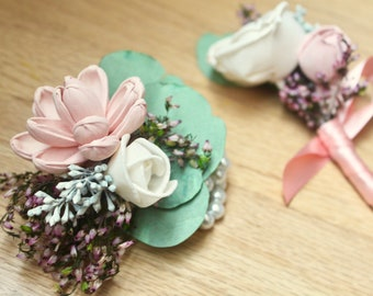 Pink Corsage, Prom Flowers, Sola Flower Corsage, Set, Sola Boutonniere, Corsage and Boutonniere, Pink Boutonniere, Sola Corsage, Eucalyptus